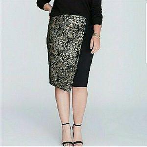 Lane Bryant asymmetrical gold jacquard skirt SZ 26